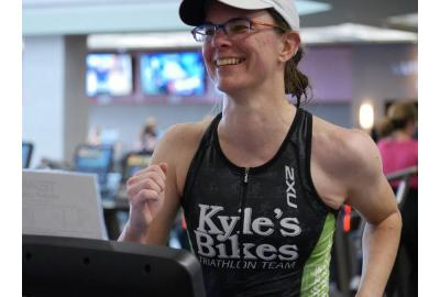 Katherine enjoyed her run at the Life Time Fitness Indoor Triathlon Hour