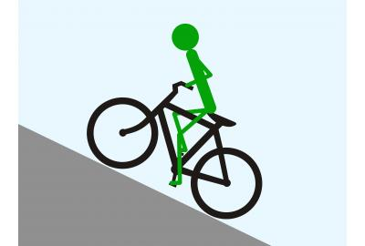 Try sitting on the front part of the saddle when climbing a steep gravel hill.