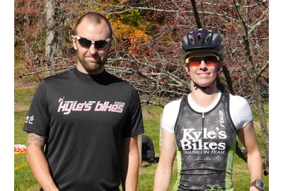 Scott Carkuff and Katherine Roccasecca teamed up at the Des Moines Dirty Duathlon for Kyle's Bikes