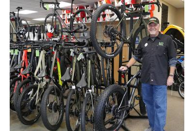 """Doug """"Shark"""" Balvanz want to sell you the bike that is right for you."""