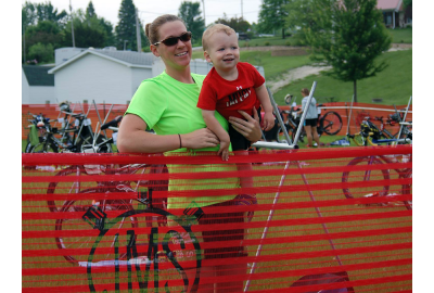 Laura Miller's son and husband cheered her on at Holiday Lake Triathlon