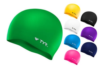 TYR Wrinkle-Free Silicone Swim Caps come in a variety of colors